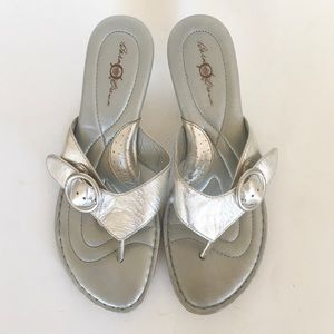 Born Silver Buckle Thong Sandals